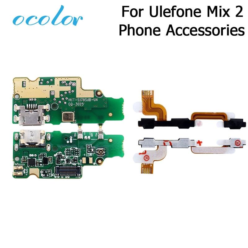 Ocolor для Ulefone Mix 2 USB порт USB разъем плата для зарядки с гибким кабелем PCB Кнопка громкости шлейф для Ulefone Mix 2