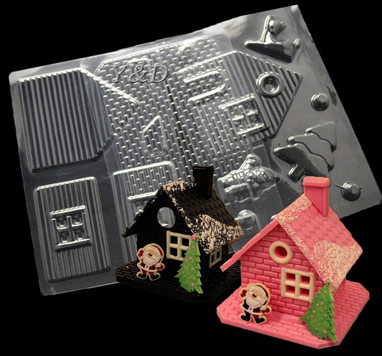 قالب حلوى عيد الميلاد مع شجرة سانتا كلوز أيل الشوكولاته Molds4 قطعة/مجموعة 3D من البلاستيك الشفاف لهدايا عيد الميلاد