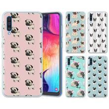 Cachorro Pug princesa Bulldog francés fundas de silicona para Samsung Galaxy A10 A30 A40 A50 A70 A6 A7 A8 + A9 M30 M50 TPU suave