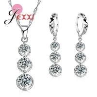 trendy thress cubic zirconia crystal beads drop necklace tassel dangle earrings piercing brincos cz wedding jewelry sets