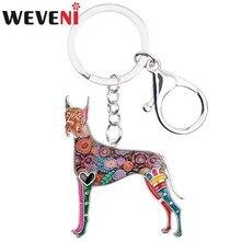 WEVENI animaux émail grand danois chien porte-clés femmes porte-clés cadeau pour fille sac à main charmes porte-clés voiture clé bijoux à breloques