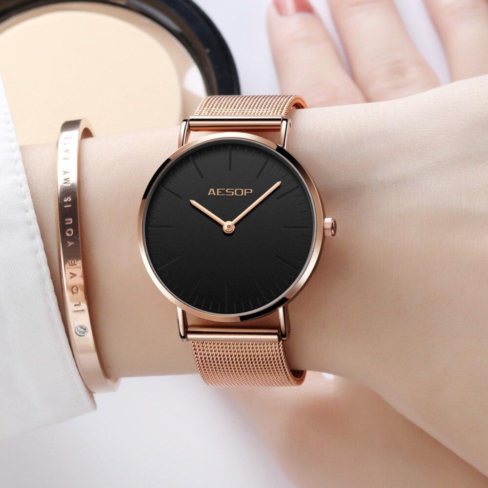 Reloj de cuarzo AESOP 2019 con correa de acero dorado para mujer, relojes de pulsera de lujo para mujer, reloj femenino