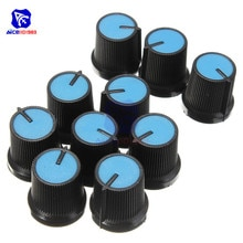 10 stks/partij Black Potentiometer Knop Blauw Gezicht Plastic Rotary Taper Potentiometer Knop 6mm Dia. As