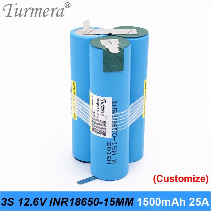 Batería original 18650 15M inr18650-15MM 1500mah 25A 10,8 v 12,6 v batería 18650 paquete para destornillador herramienta batería paquete personalizado