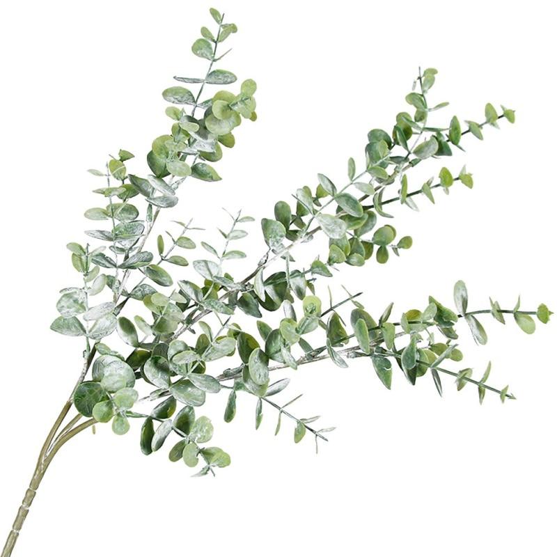 Plantas casa pequeña flor planta con hojas follaje sintético eucalipto artificial decoración de ramas de árbol para la boda de Navidad