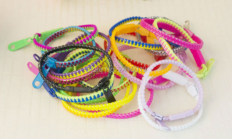 New Two tone 50x meninas meninos zip zipper pulseiras pulseiras pulseira de plástico loot saco enchimentos pinata partido favorece presentes prêmios