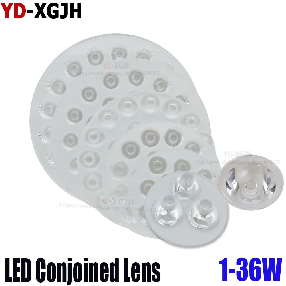 2 uds LED de la lámpara del punto de la Lente de la lámpara de Chip de 1W3W5W7W 9W12W15W18W21W24W36W de alta potencia 1W LED lúmenes plana transparente doble lente