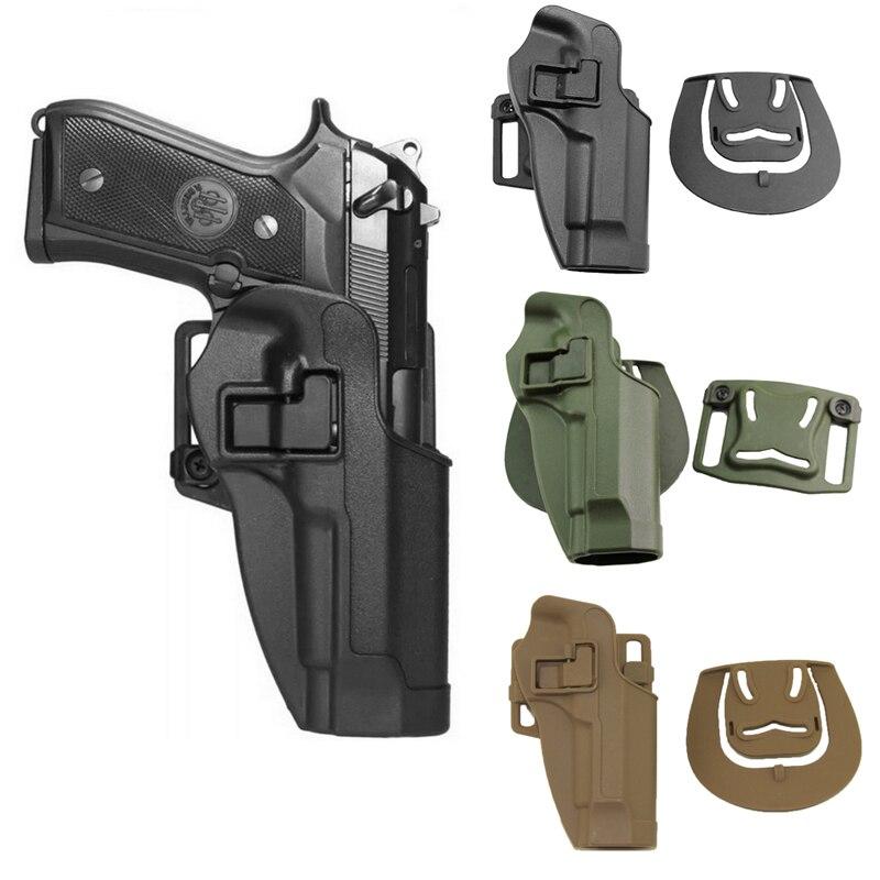 Caça ao ar livre acessórios de tiro cqc m9 92 96 pistola holsters preto com cintura paddle cinto tiro airsoft engrenagem