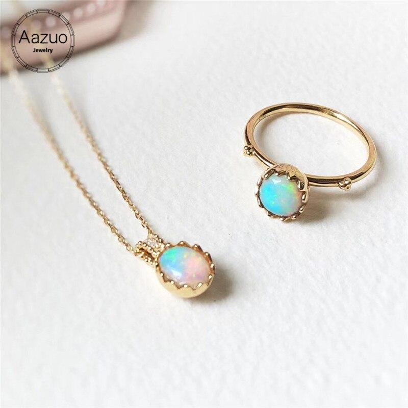 Aazuo 18K oro amarillo huevo anillo collar Natual azul ópalo Diamante Real regalado para mujeres Día de San Valentín enlace cadena Au750