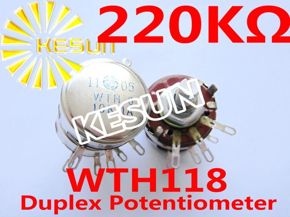 WTH118 WTH-3 220K OHM 2W  Carbon Duplex Potentiometer Pot  x 10PCS
