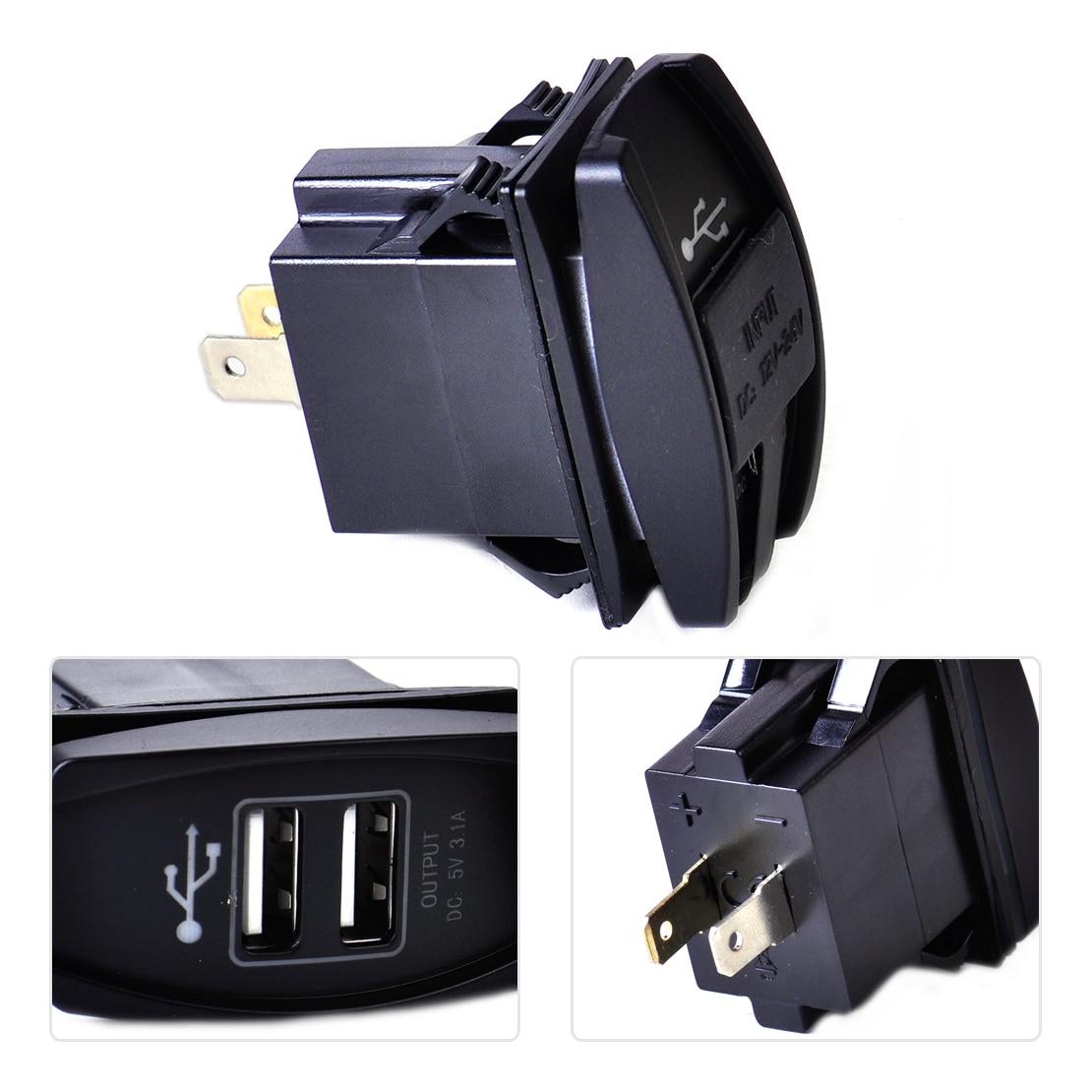 Beler impermeable azul LED 12-24V 3.1A Dual USB cargador de fuente de alimentación Puerto hembra de coche de la motocicleta para VW, Audi, Ford Toyota Kia BMW