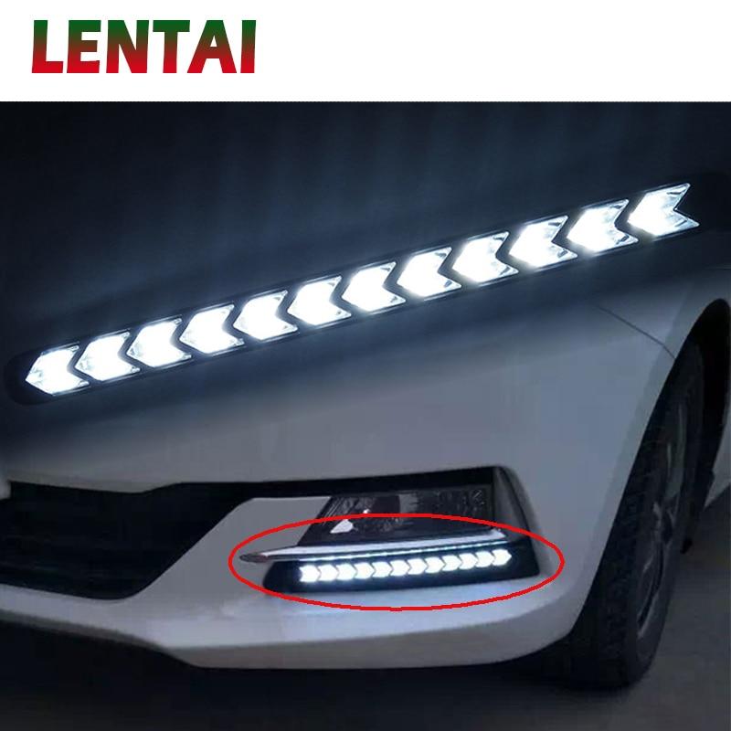 LENTAI para BMW e46 e39 e90 e60 e36 f30 f10 e30 Citroen c4 c5 c3 MG 1Set coche LED DRL luz antiniebla intermitentes con dirección amarilla