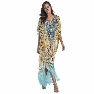 Женское повседневное пляжное платье с принтом, Свободное длинное платье большого размера с коротким рукавом и v-образным вырезом, модель ZW166...