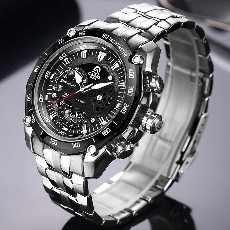 Relojes deportivos CAINO para hombre, reloj de pulsera de cuarzo analógico a prueba de agua de moda de acero de marca superior de lujo, reloj Masculino