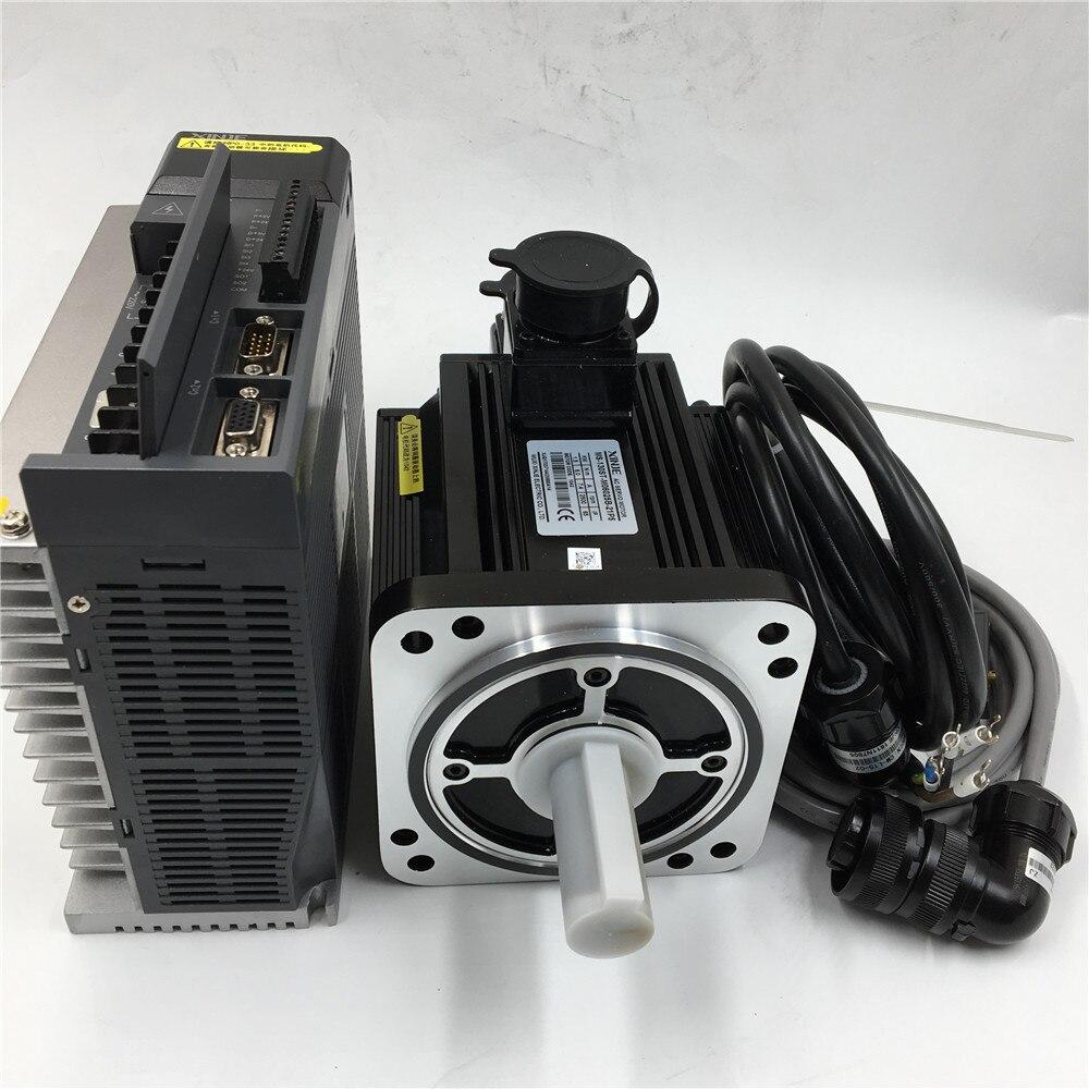 7.7N.m 2.3KW AC Motorista Servo Motor com Freio 220 V & MS-130ST-M07725BZ-22P0 3 M Cabo do Encoder 2500 RPM + DS3-22P3-PQA