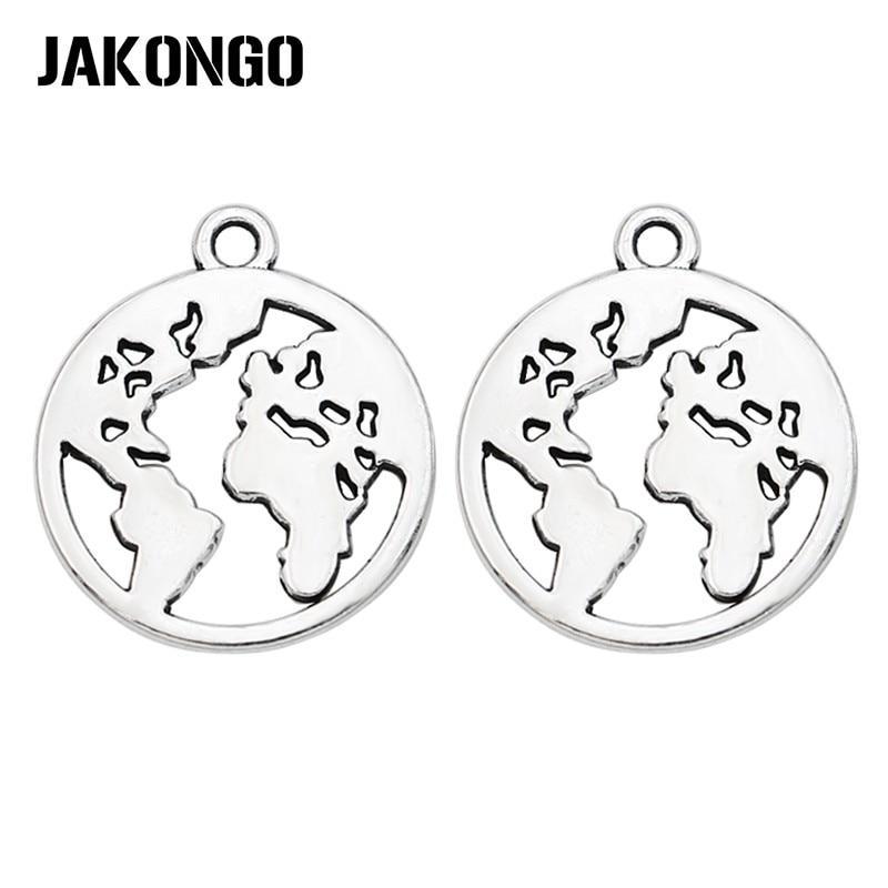 Abalorios de mapa JAKONGO chapados en plata antigua, colgantes para hacer joyas, accesorios para pulseras, manualidades DIY hechas a mano, 21x18mm, 10 Uds