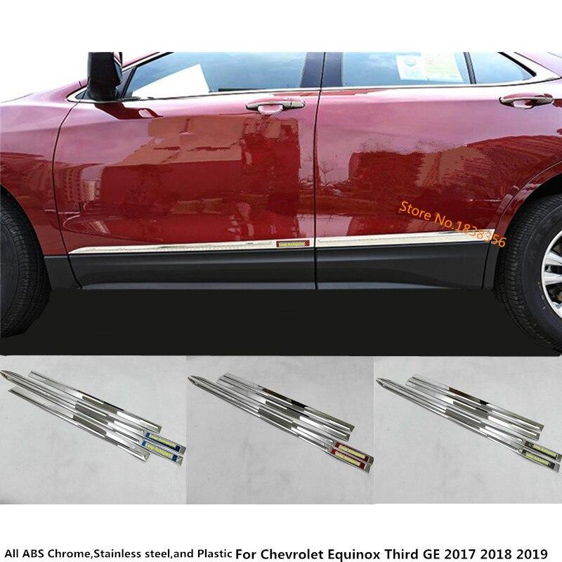 Carro de aço inoxidável porta lateral guarnição tira moldagem fluxo painel da lâmpada pára-choques para chevrolet equinox terceiro ge 2017 2018 2019 2020