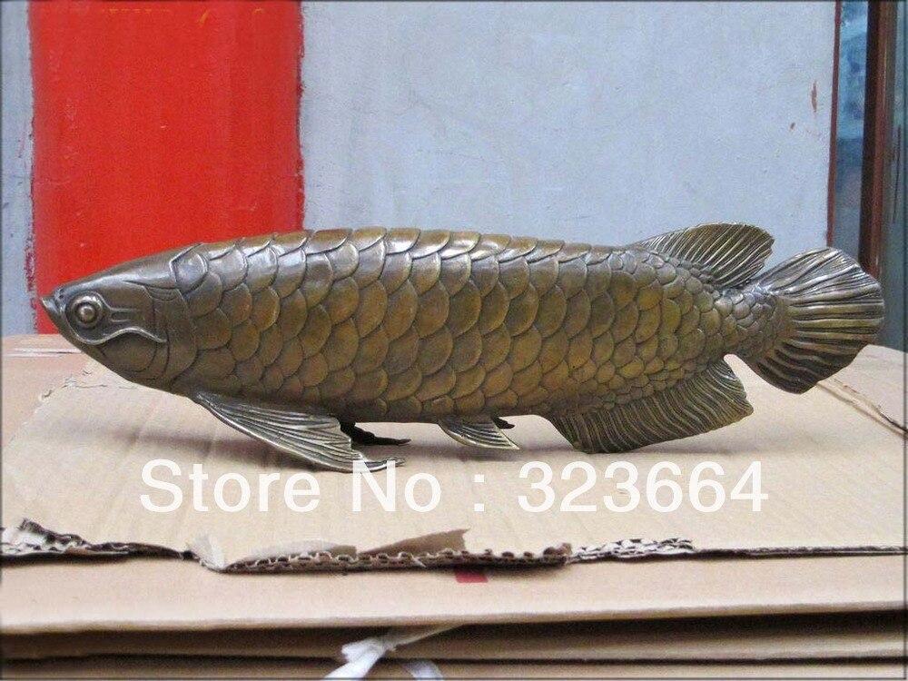 "17 ""China clásica bronce Tallado Carp Fish Estatua Fish = excedente estatua acomodada"