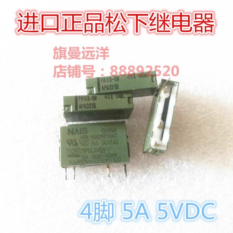 5 unids/lote PA1A-5V 5V relé 5A 4PIN PA1a-5V 5VDC APA3319