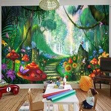 Nach Wandbild Tapete 3D Cartoon Fee Wald Pilz Pfad Wand Malerei Kinder Kinder Schlafzimmer Umweltfreundliche Foto Wand Papiere