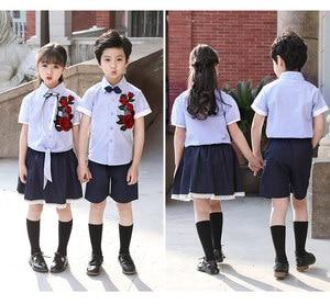 Summer school uniform set kindergarten children's clothing school primary and secondary school class clothing children's shirt e