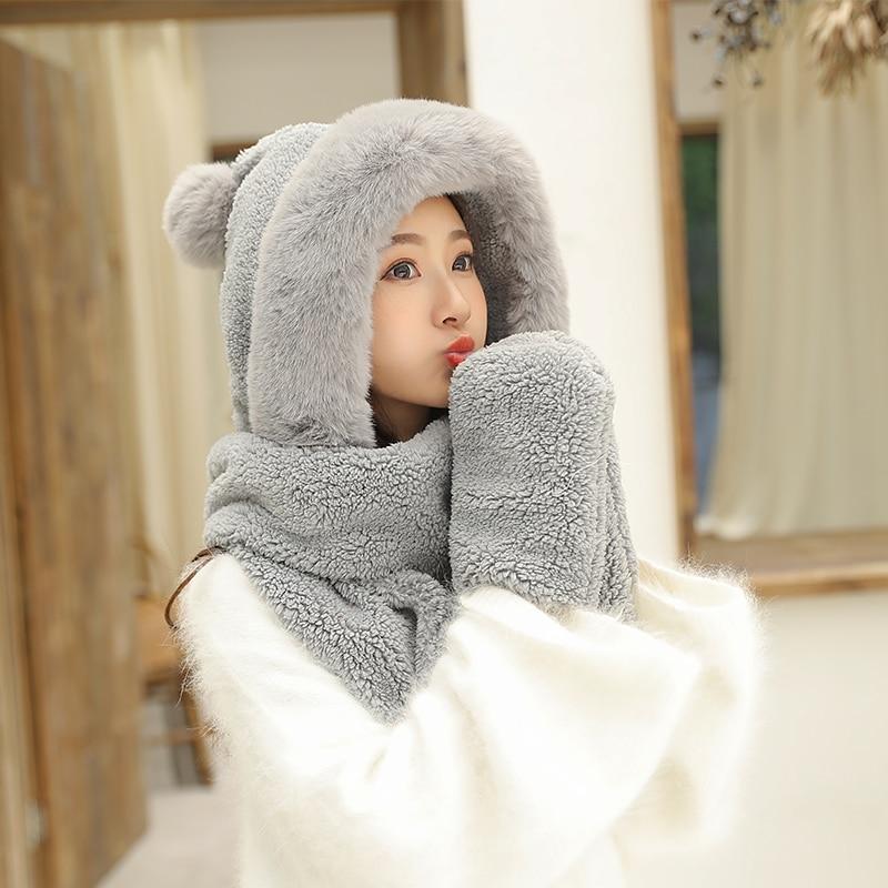 ZDFURS * sombrero de otoño e invierno para mujer, de felpa gruesa, de doble capa, gorro de nororiental, cálido cuello de ciclismo, bufanda, guantes, un regalo