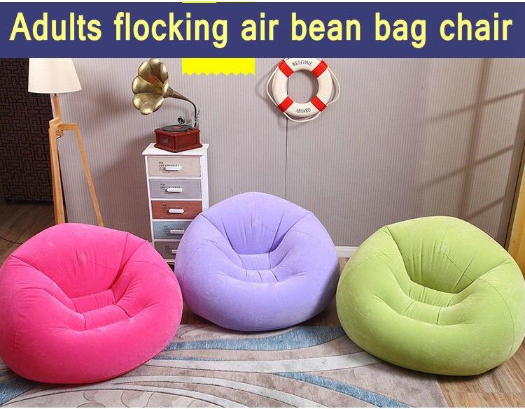 Flock pvc weich und komfort sitzsack, aufblasbaren büro liege, wohnzimmer sitzsack sofa stuhl, lila rosa green chair