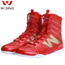 Men Women Boxing Shoes Boxing Training Sneakers Professional Martial Art MMA Sanda Fighting Black Red Boxing Shoes