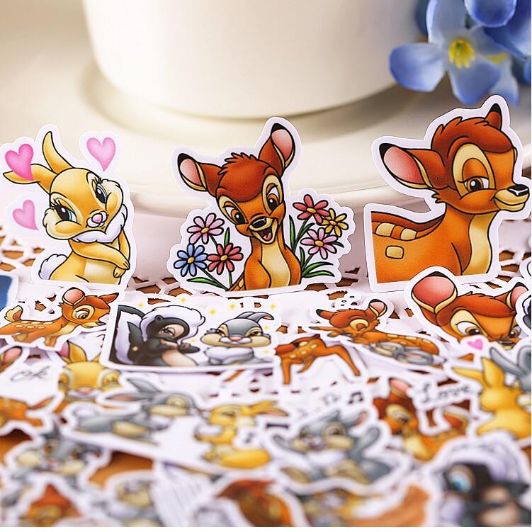40 Uds. Pegatinas creativas bonitas de ciervo Bambi autohechas/pegatinas para álbum de recortes/pegatinas decorativas/álbumes de fotos artesanales DIY