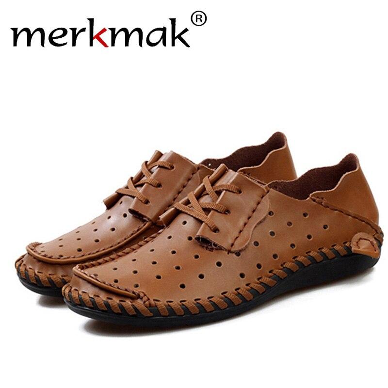 Zapatos planos Merkmak de piel auténtica para hombre, zapatos Oxford a la moda, zapatos transpirables, mocasín de verano informal, zapatillas para exteriores