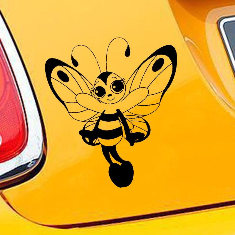 HotMeiNi pegatina para coche Jdm estilo pegatina de parachoques o ventana de vinilo camión frigorífico impermeable lindo mariposa abeja chica 15*17cm