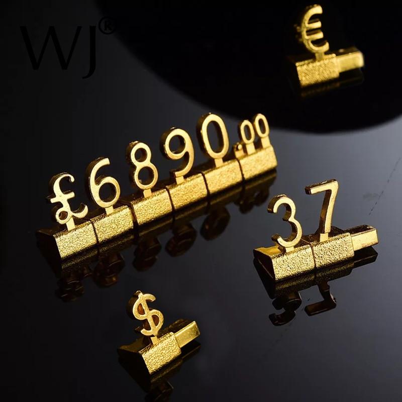 Etiquetas de precio combinadas 3D de Metal, etiquetas de Euro Pound Dollar, cámara, teléfono, tienda de joyería, conjunto de mostrador, etiquetas de números