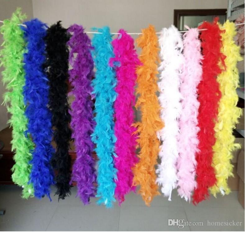 Boa de plumas de chandelle Rosa 200cm envoltura Burlesque Can Saloon Sexy traje accesorio pavo boa de plumas de marabú muchos colores