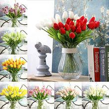 1 букет, мини тюльпаны, искусственные розы, пластиковые искусственные цветы, лист, домашний декор, букет для невесты, подарки на свадьбу, укра...