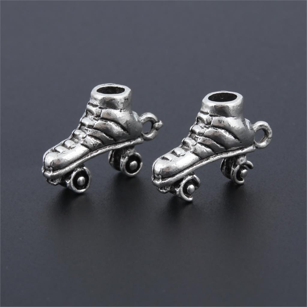10 Uds. Abalorios de plata en 3D para patines de hielo, Fabricación de colgantes deportivos competitivos, brazaletes de pulsera DIY, accesorios de joyería 19X14 A3201