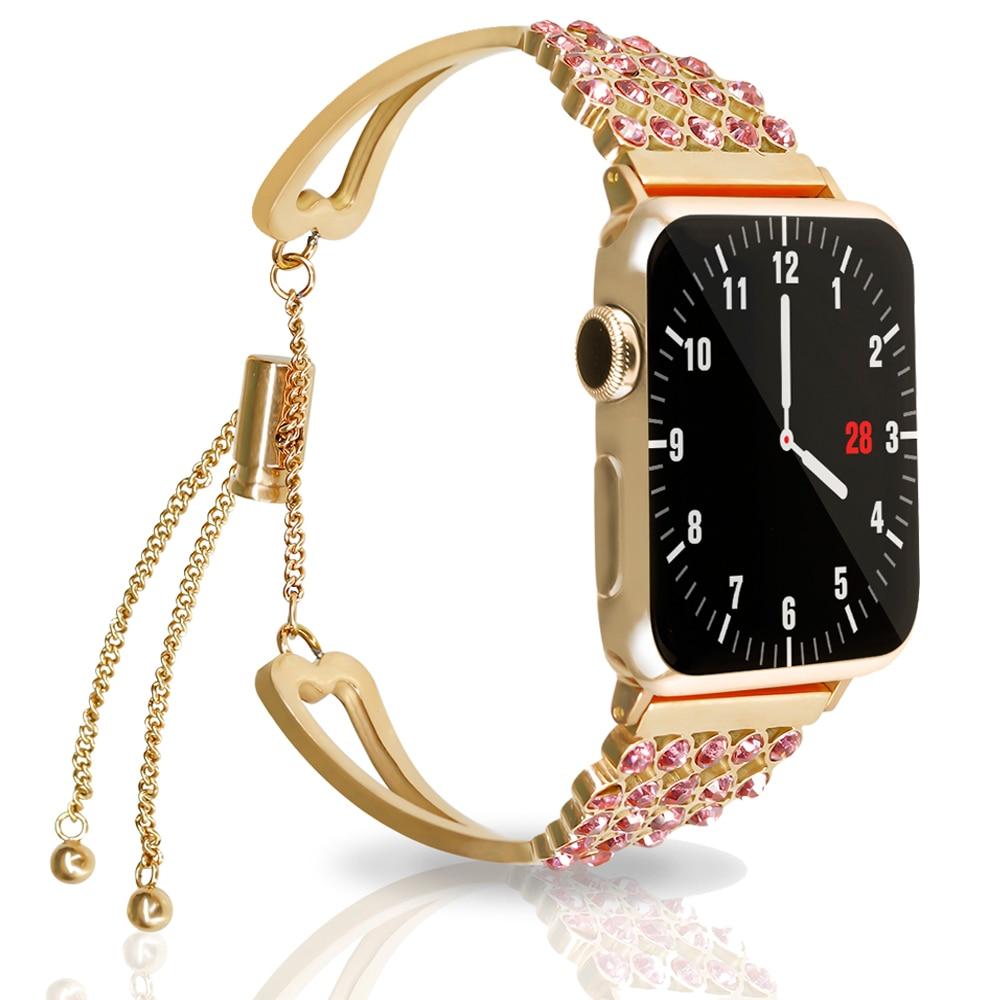 Correa 44mm 40mm para Apple watch band 4 3 iwatch correa 42mm 38mm mujer diamante Acero inoxidable enlace pulsera Relojes Accesorios