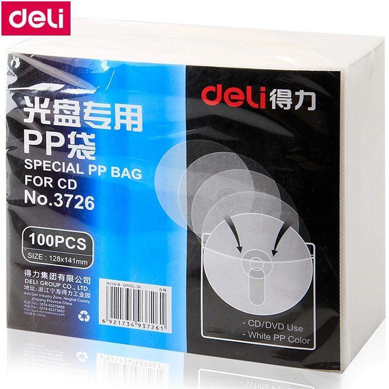 100 TEILE/LOS Deli 3726 Spezielle PP tasche für CD DVD sleeve120x140mm CD tasche weiß full pack 100 pcs großhandel