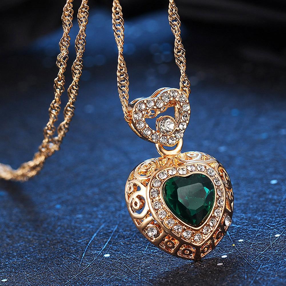 Fashion Heart Alloy Rhinestone Necklace Ear Studs Earrings Women Jewelry Set