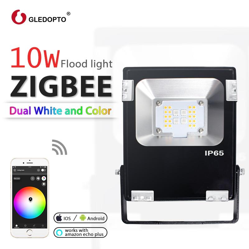 GLEDOPTO زيجبي LED 10 واط الكاشف RGB + CCT دافئ أبيض بارد زيجبي ضوء ربط AC110-240V الاتحاد الأوروبي الاتحاد الافريقي التوصيل العمل مع صدى زائد