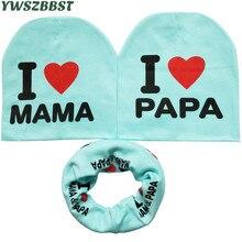 Осенне-зимний хлопковый комплект с шапочкой и шарфом для малышей, шапка для мальчиков и девочек с принтом «я люблю мама папа», шапка с крючко...