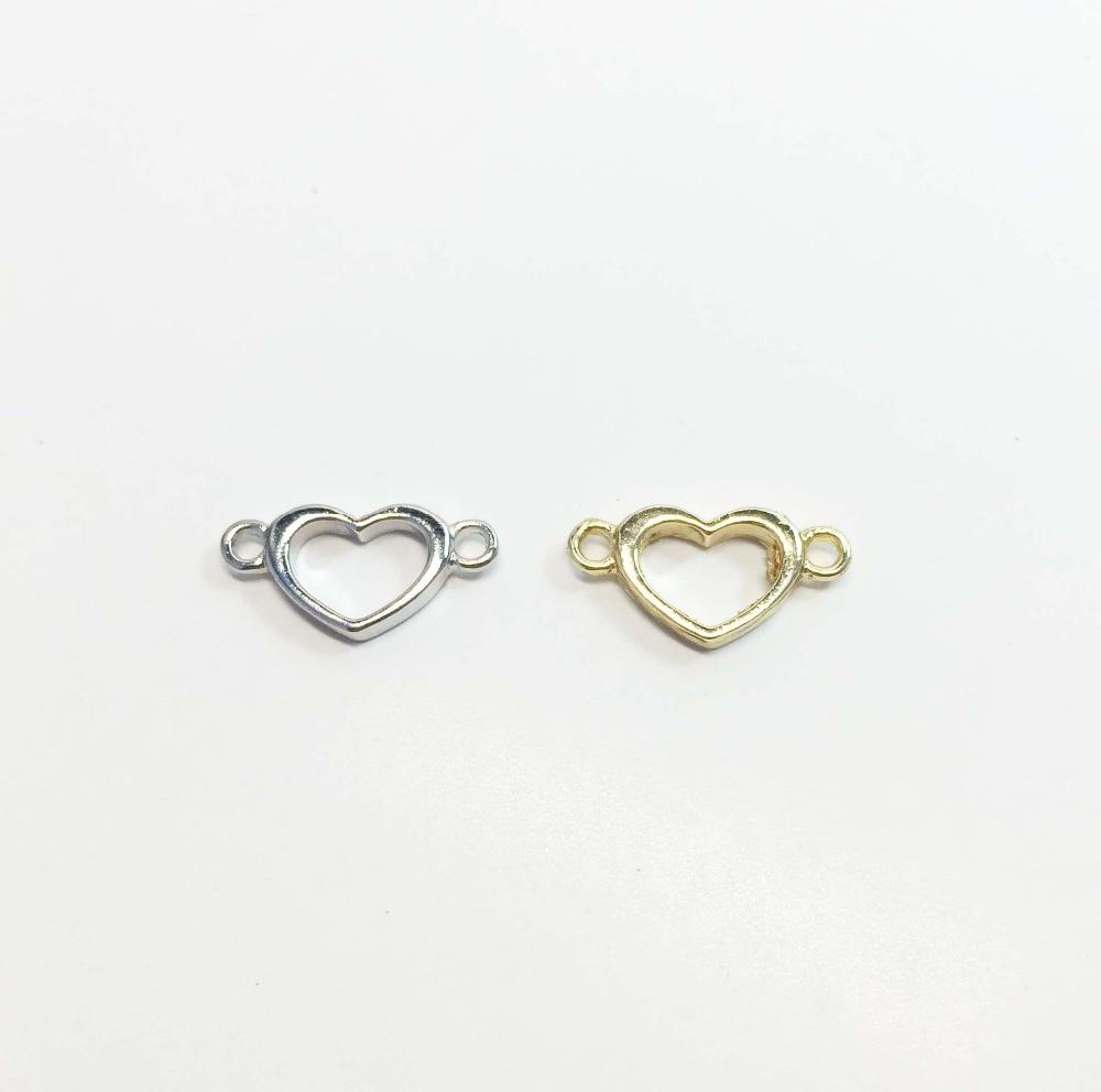 Eruifa Hot Tiny Polished Shiny Open Heart 10mm*8mm 20pcs per bag necklace,earring bracelet jewelry DIY handmade 2 colors