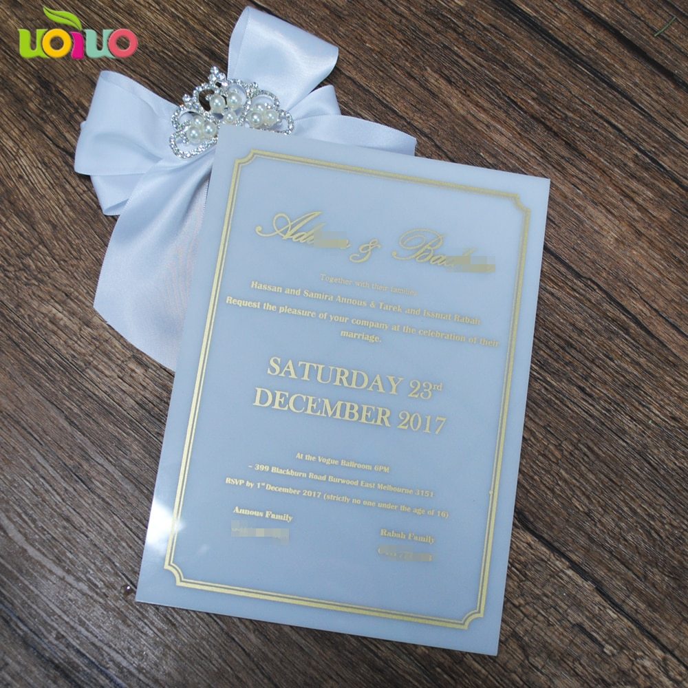 20 pcs boa qualidade branco cartões de casamento do laço de impressão do cartão do convite com palavras de ouro para a decoração do casamento