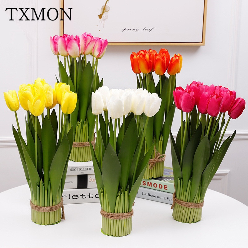 flores artificiales para decoracion hogar Nuevo 12 cabezas maceta Tianshan retrocederán tulip interior falso arte flor jardín casa Mesa de la sala de los tulipanes para la decoración de la casa
