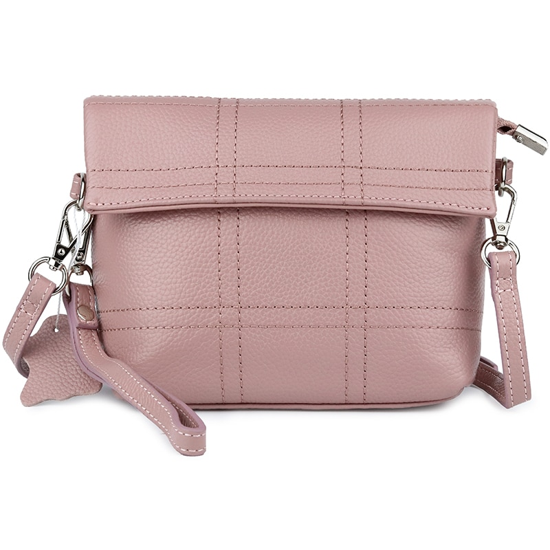 women day clutches solid color genuine leather lady shoulder bag fashion black  pink plaid cow leather  woman crossbody bag