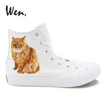 Wen Pet Gato Bobtail Americano Design Personalizado Pintados À Mão Sapatos de Lona Branca de Alta Top Vulcanize Sapatos Plimsolls Alpercatas Plana