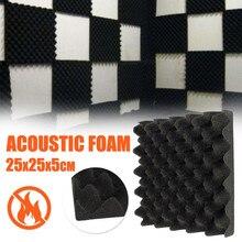 1PC 25X25X5CM Schwarz Akustische Schalldichte Sound Stoppen Absorption Schallschutz Schaum für KTV Audio Zimmer studio Zimmer