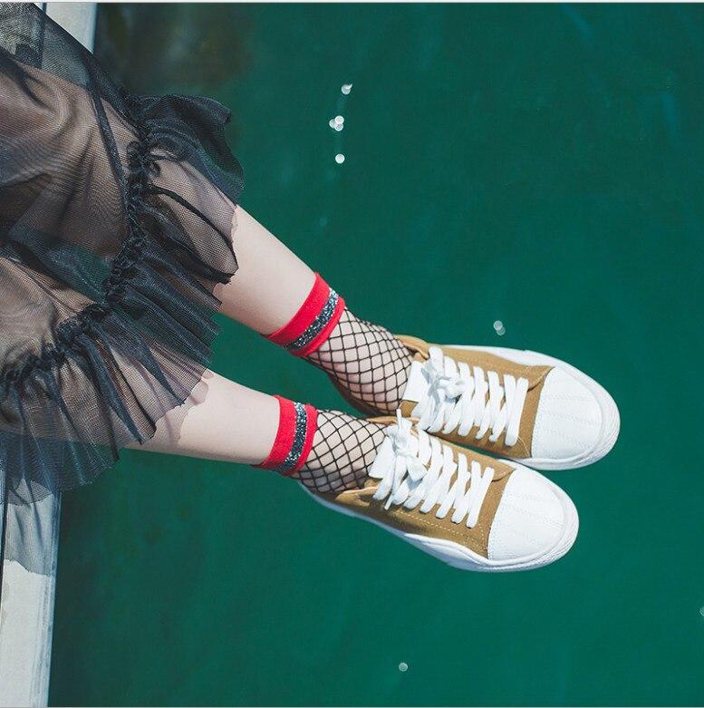 Nueva Harajuku goth serie punk cool mujer esencial hueco rayas fina fishnet...