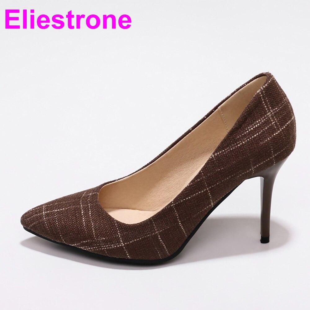 Nueva gran oferta, zapatos de tacón alto elegantes marrones y azules para mujer, zapatos informales para mujer JF28 Plus, tallas grandes pequeñas 10 30 45 48