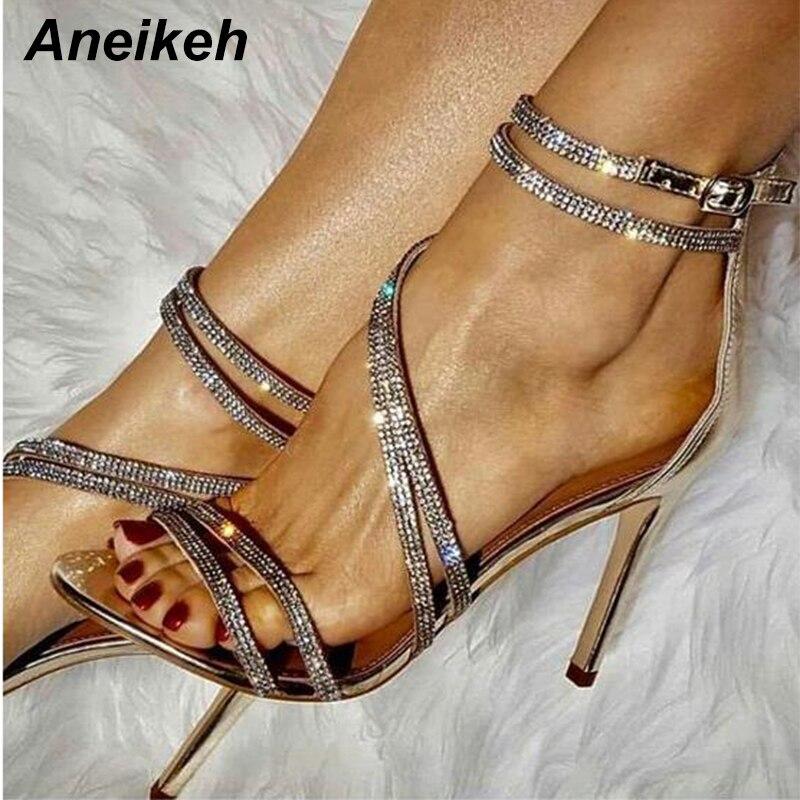 Aneikeh الذهب بلينغ كريستال مثير النساء الصنادل المفتوحة تو حجر الراين الأشرطة الصليب صنادل عالية الكعب فستان الزفاف أحذية حجم 35-40