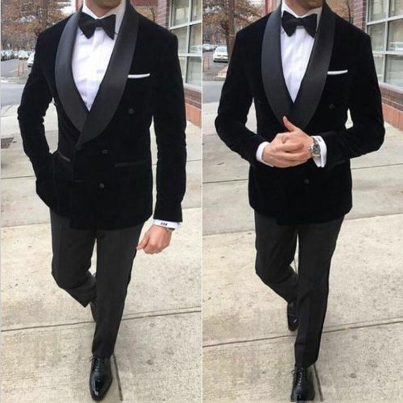 Black Velvet Prom Suits Men Suits for Wedding Shawl Lapel Plus Size Groom Tuxedos 2Piece Smoking Jacket Slim Fit Terno Masculino